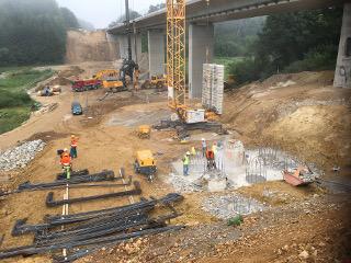 Prüfung Pfähle Neubau Bahnbrücke