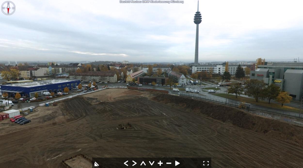 Baustellenbefliegung für das Baufeld der neuen BMW-Niederlassung nach einer Bodenverbesserungsmaßnahme in Nürnberg.